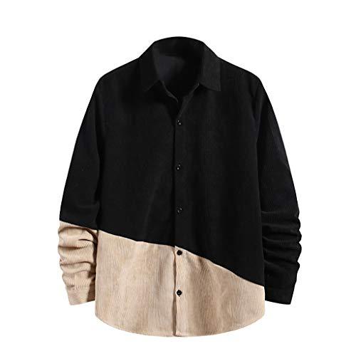 Yowablo Jacke Parka Standard Outdoor Jacke Cord Shirt Mode Button Top Langarm Casual Shirt T-Shirt (M,4Schwarz)