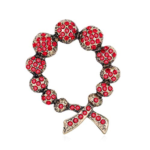 FENGJI Antique Gold Womens Crystal Rhinestone Round Scarf Pin Retro Brooch Red Black Jewellery Gift Red