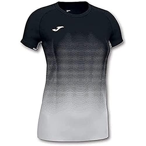 Joma Elite Camiseta Running, Mujer, Negro-Blanco, M