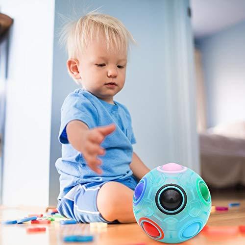 Foxglove Magic Ball Regenbogen Ball/Zauberwürfel 3D Puzzle Ball Speed Cube Würfel Regenbogenball Toy Pädagogische Spielzeug mit 12 Löchern und 11 Bällen