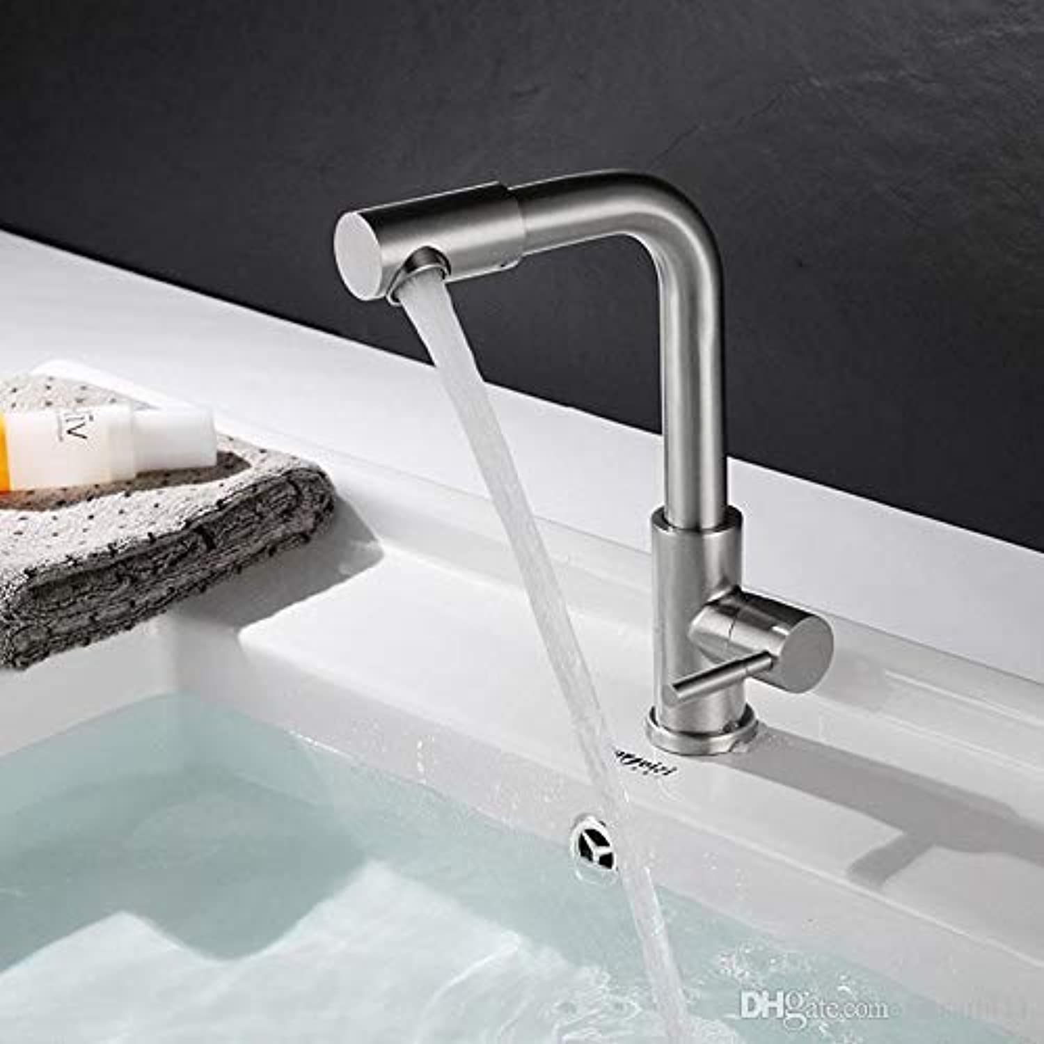 Oudan Sus304 Stainless Steel Basin Faucet Single Cold Sink Faucets Turning Faucet Brushed Finish Single Handle Faucets, B (color   C, Size   -)