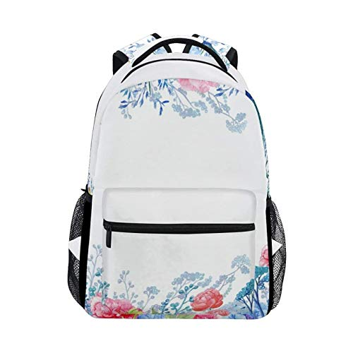 DOUBLE Shoulder Bag Vintage Peacock Animals Floral Flowers Tree Gift Casual Student Laptop Book Printed College Travel School Bag Daypack Backpack for Women Men Kids Girls Boys