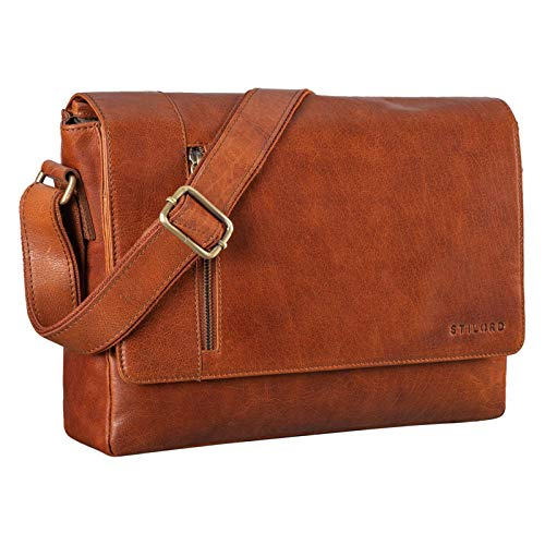 STILORD 'Davis' Satchel Messenger Bag Leather Laptop Bag 13 Inch Vintage Shoulder Bag College Bag for Office Work Leisure in Genuine Leather, Colour:maraska - Brown