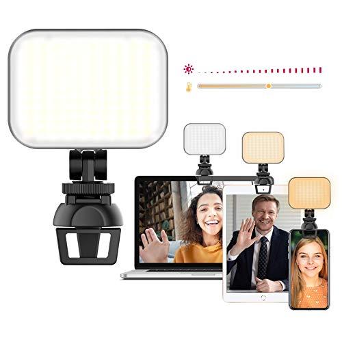 Streaming Licht LED,Videokonferenz Licht für Latop,Webcam Licht mit Clip,Farbtemperatur Bildschirm Lampe für Zoom Meeting,Helles Fotografie für Vlogging Self Broadcasting CL02
