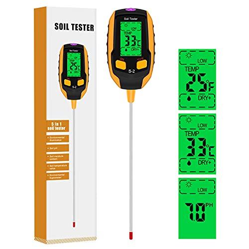 Medidor de pH de Suelo 5 en 1,Medidor de Termómetro de Planta Digital con Iluminancia/Humedad Ambiental/Temperatura del Suelo/ Humedad del Suelo/pH ,para Plantas en Macetas,Jardines,Césped (Amarillo)
