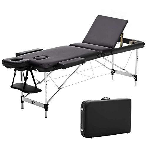 JL Comfurni Mobile Massageliege klappbar Massagebank mit 3 Zonen tragbaren höhenverstellbaren Aluminiumfüße Ergonomische Kopfstütze mit Tragetasche schwarz