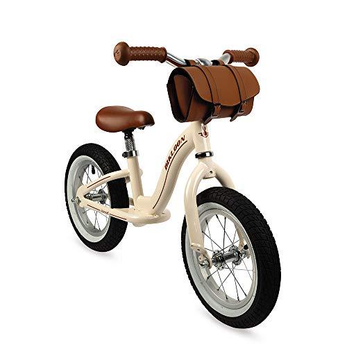 Janod J03294 Metall-Laufrad, Vintage-Retro-Aussehen, Gleichgewicht und Unabhängigkeit lernen, verstellbarer Sattel, aufblasbare Reifen, mit Tasche, Beigefarben, für Kinder ab 3 Jahren