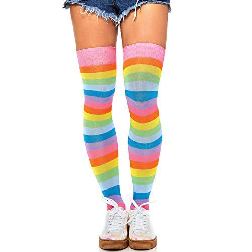 Leg Avenue Costume Accessories's Pride Festival Thigh Highs Socks, Neon Rainbow, One Size