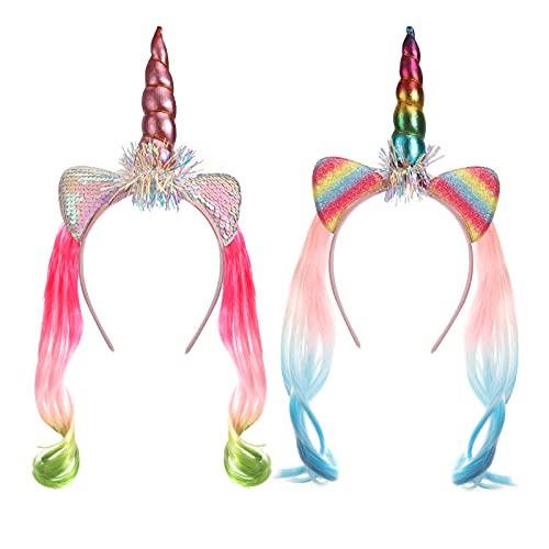Hifot Cerchietto Unicorno con Parrucca per Bambini, Accessori Vestito Carnevale Bambina Unicorno, Cerchietti Unicorni per Halloween Festa Compleanno Cosplay(2 pezzi)