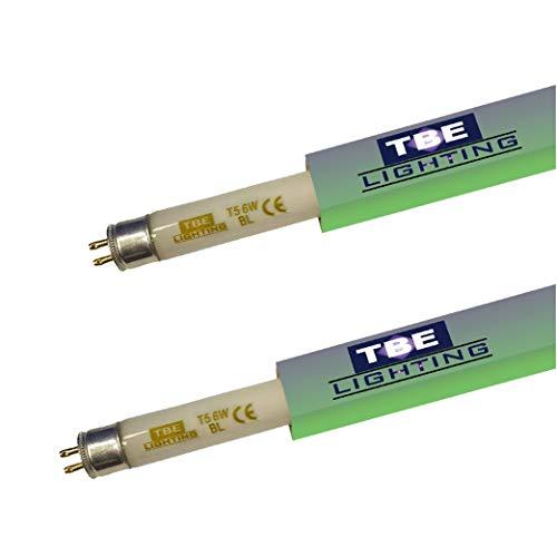 TBE Lighting T5 Fliegenvernichter Röhren – 2 Stück – 6 W BL 368 nm Bug Zapper UV-Röhren für Insektenvernichter – G5 2-poliger Sockel – 225 mm Länge