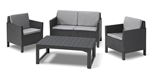 ALLIBERT Lounge Chicago Fauteuil Set de Canapé avec Coussin de Dos Lyon Table, Graphite/Cool Gris, 129 x 65 x 75 cm, 232949