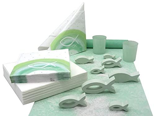 Kommunion Konfirmation Tischdeko Mint Grün Salbei Weiß Fisch Set 20 Personen