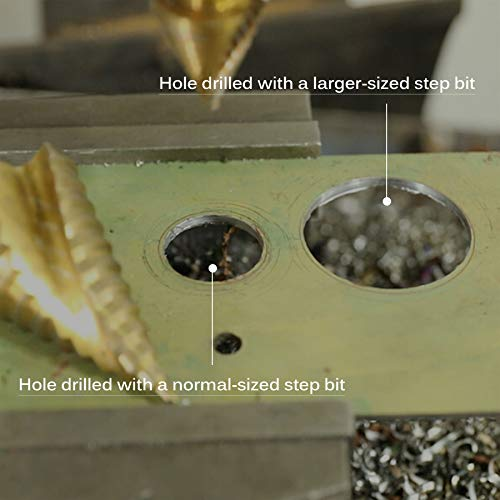 CO-Z Large HSS Spiral Groove Step Drill Bit, 12 Sizes Titanium High Speed Steel 1/4