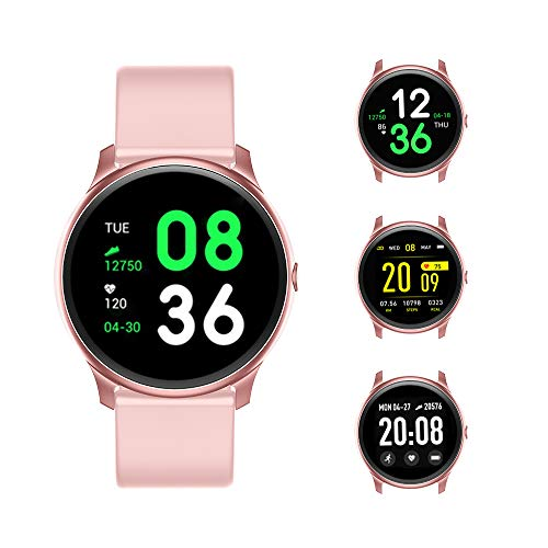HD Full Touch Color Screen Smart Watch for Women, KINGXBAR Bluetooth Fitness Tracker Compatible with iPhone/Android Phones, Sports Activity Tracker with Sleep/Heart Rate Monitor, Calorie Counter