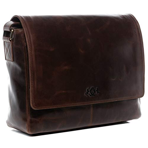 SID & VAIN Laptoptasche Messenger Bag echt Leder Spencer XL groß Businesstasche 15 Zoll Laptop-Fach Ledertasche Herren Umhängetasche braun