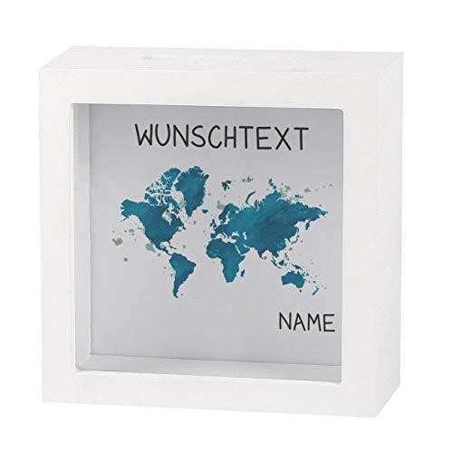 Herz & Heim® Spardose als Bilderrahmen - Weltenbummler - individuell für Sie erstellt mit Namen und Wunschtext