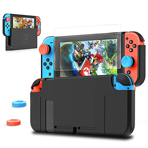 HEYSTOP Nintendo Switch Dockable Case, PC Protective Case for Nintendo Switch with a Tempered Glass Screen Protector and 2 Thumb Grips Caps - Black