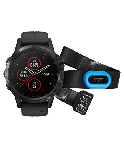 Garmin GPS Fenix 5 Plus 47 mm C/TRAN Fahrradhand, Erwachsene, Unisex, Schwarz (Schwarz), Einheitsgröße