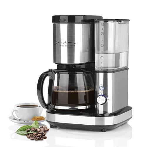 Barista Filter-Kaffee-Maschine aus Edelstahl mit Mahlwerk | inkl. Glas-Kanne für bis zu 10 Tassen Cafe Crema [Wasser-Behälter 1,2 Liter / 800 Watt ]