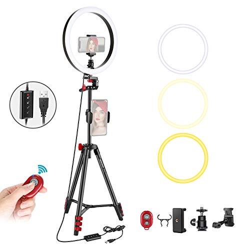 Neewer LED-Ringlicht mit Stativ, 25,4 cm, dimmbar, Ringlicht mit 137,2 cm Stativ und Handy-Halterung für Live-Streaming/Make-up/YouTube, Bloggen, Videoaufnahmen