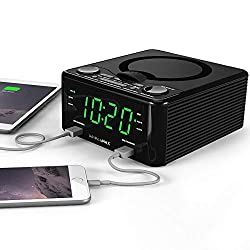 HANNLOMAX HX-300CD Top Loading CD Player, PLL FM Radio, Digital Clock, Dual Alarm, 1.2 inches Green LED Display, Dual USB Ports for 1A and 2.1A, Aux-in, AC/DC Adapter Included (Black)