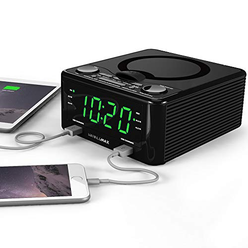 HANNLOMAX HX-300CD Top Loading CD Player, PLL FM Radio, Digital Clock, Dual Alarm, 1.2 Green LED Display, Dual USB Ports for 1A and 2.1A Charging, Aux-in, AC/DC Adapter Included (Black)