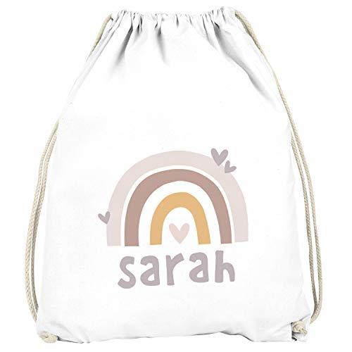 SpecialMe® Kinder Turnbeutel Regenbogen mit Namen Herzen Skandi Stil personalisierte Geschenke Mädchen Jungen weiß-braun Unisize