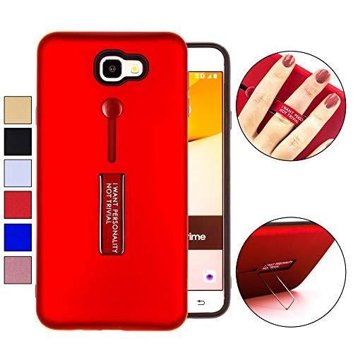COOVY® Cover für Samsung Galaxy J7 Prime SM-G610Y /Duos SM-G610F / DS / On7 Bumper Case, Doppelschicht aus Plastik + TPU-Silikon mit Halteschlaufe, Standfunktion | Farbe rot