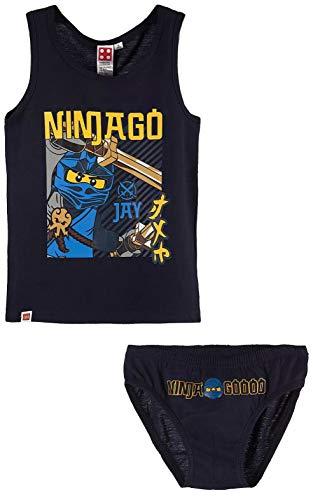 TVM Europe GmbH Lego Ninjago Unterwäsche Set Jungen dunkelblau Ninja Goooo Jay Unterhose + Unterhemd Gr.104 116 128 140 (104)