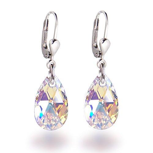 Schöner-SD Ohrringe mit Swarovski® Kristall 925 Silber Tropfen hängend 16mm Crystal Aurora Boreale