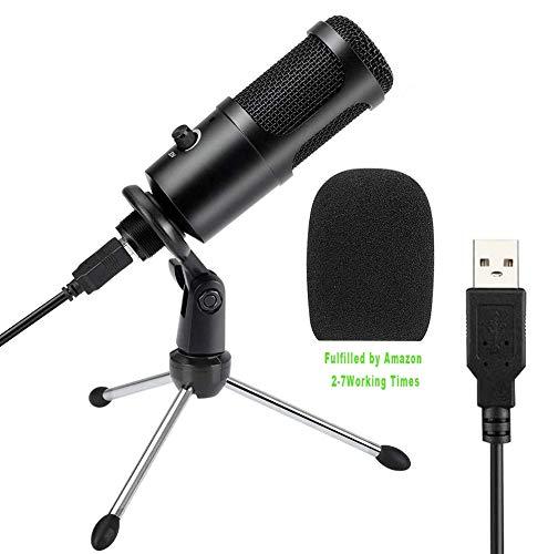 USB Mikrofon, KKUYI PC Laptop Mikrofon, Kondensator mikrofone + Ständer Studioqualität Aufnahme Microphone USB für podcast, studio, streaming, broadcast, youTube, video, recorder Mehr (Black)