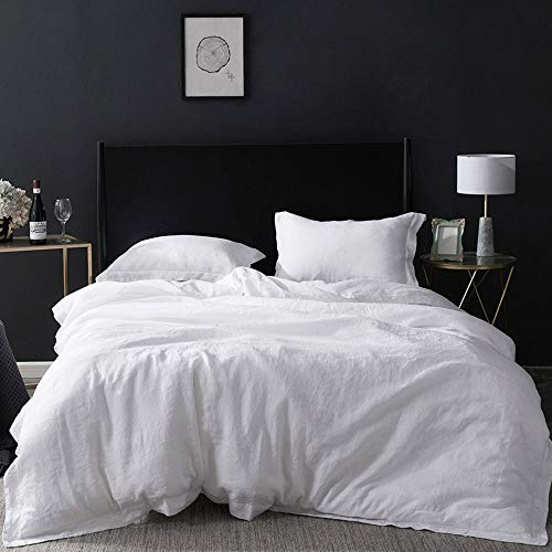 Simple&Opulence 100% Washed Linen Duvet Cover with Embroidered,Queen Size(88'x 92'),3 Pieces Soft Farmhouse Comforter Set with Button Closure,1 Duvet Cover and 2 Pillowshams(Natural White)