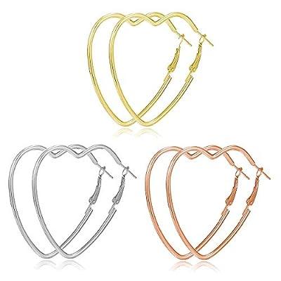 4 Pairs Big Hoop Earrings, 60mm Stainless Steel Hoop Earrings in Gold Plated Rose Gold Plated Silver Black Colors for Women Girls (4 Pairs 60mm)