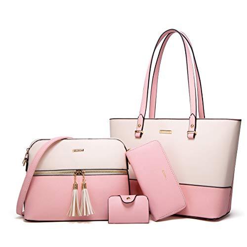 Women Fashion Handbags Tote Bag Shoulder Bag Top Handle Satchel Purse Set 4pcs (Pink-beige)