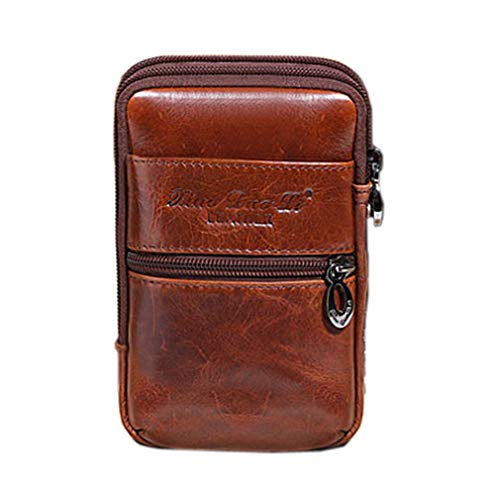 Hebetag Leather Phone Belt Holster Waist Case Bag for Men Travel Outdoor Camping Cell Phone Loop Pouch Pack Purse Wallet Holder for iPhone 12/11 Plus Note Edge Plus Coffee
