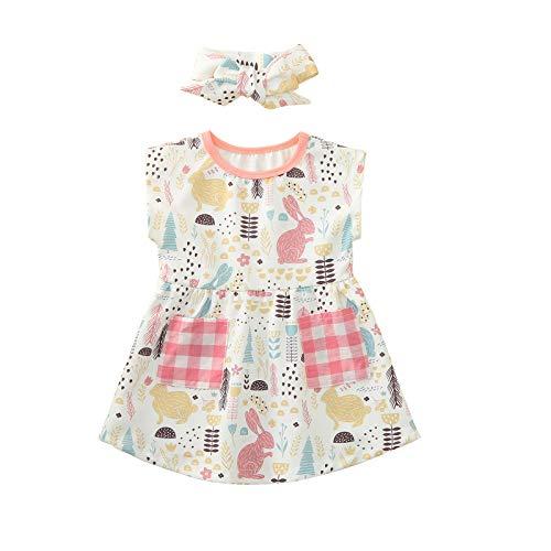 HWTOP Kleinkind Baby Ostern Hase Drucken Mädchen Kleid Rüschen Einfarbig Elegante Partei Kleid Leinen Sommer Kinderkleid Prinzessin Outfits Kleidung mit Stirnband