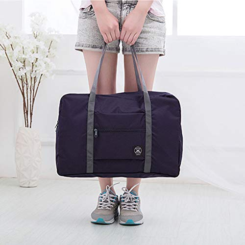 Axgo Folding Travel Duffel Bag Packable Light Nylon Water Resistant Tote Weekend Getaway Overnight Carry-on Shoulder, Navy