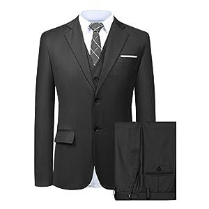 Hanayome メンズスーツスリーピース スリム メンズ ビジネス 2つボタン スーツ スタイリッシュ 入社式/卒業式/就職/結婚式 礼服 防シワ 大きいサイズ SI82 (Black,36R)