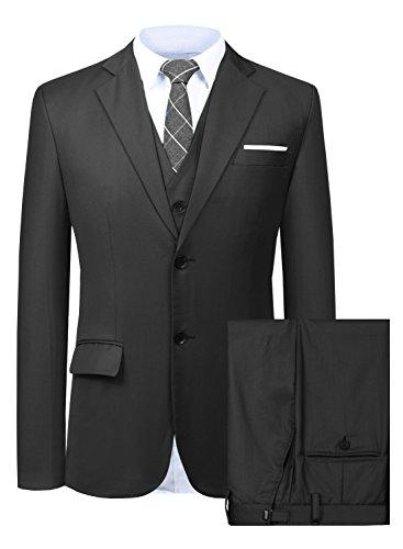 Men's Elegant Slim Fit Plaid Two Buttons Suit Blazer Jacket Tux Vest & Trousers 3-Piece Suit Set Purplish Red