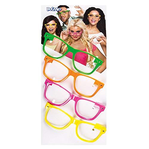 Boland 02604 - Partybrillen Set, 4 Stück, Gelb, Orange, Pink und Grün, ohne Gläser, Spaßbrillen, 80er Jahre, Motto Party, Karneval
