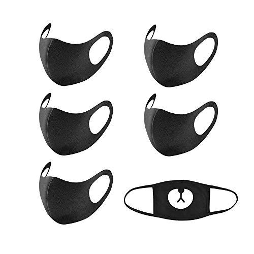 ARTSOTRE 3 Pack Mode Unisex Katoen Gezichtsmaskers, Herbruikbaar en Wasbaar Ademend Anti Stof Haze Mist Mond Masker voor Hardlopen Fietsen Camping Reizen (Zwart)