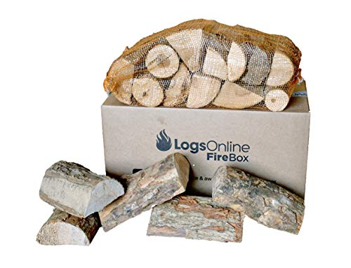 Logs for fire Pit, 20kg/ 60L Litre Boxed Firewood for Pizza Ovens, Chiminea, BBQ Wood Burner Kiln Dried Hardwood Under 20% Moisture. 25cm Ready to Burn Fire Logs