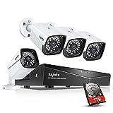 SANNCE Kit sorveglianza Sistema di Sicurezza 4 Canali 1080P Kit Telecamera Videosorviglianza POE IP66 NVR Visione Notturna per Sicurezza della Famiglia 1TB HDD