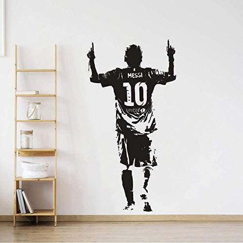 Wandaufkleber Vinyl Wandaufkleber Fußballspieler Wandtattoo Fußball Fußball Star Messi Wallpaper Poster Abnehmbarer Raumdekor Wandaufkleber 110X57Cm