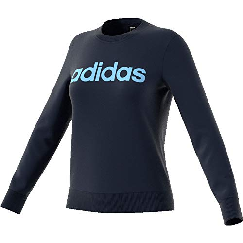 adidas Essentials Linear Sweatshirt Sudadera, Mujer, Azul Marino(Legend Ink/Glow Blue), L
