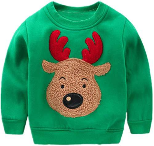Popshion Toddler Boys Christmas Sweatshirts Long Sleeve Pullover Shirts Deer Sweater Cartoon Tee Sport Tops Green