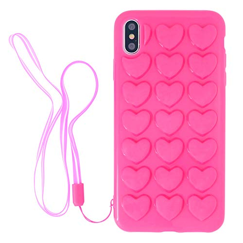 iPhone 8 Plus/iPhone 7 Plus Case for Women, DMaos 3D Pop Bubble Heart Kawaii Gel Cover with Lanyard Wrist Strap, Cute Girly for iPhone 8+ 7+ 5.5 inch - Hot Pink