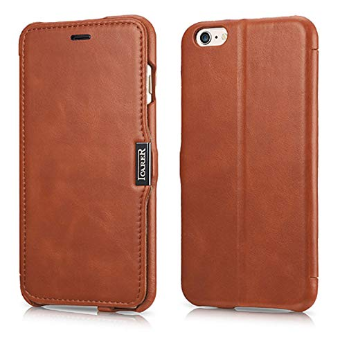 ICARER Hülle passend für Apple iPhone 6S Plus und iPhone 6 Plus (5,5 Zoll), Handyhülle mit echtem Leder, Case, Schutz-Hülle, dünne Handytasche, Slim Cover, Vintage Braun