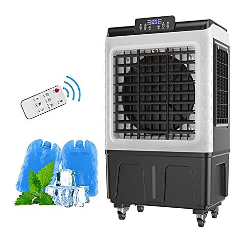 SXFuture Industria Aire Acondicionado Portátil con Mando a Distancia, 75L 4-en-1 Ventilador Aire Frio y Humidificador, Enfriadores de Pantano para Oficina en Casa