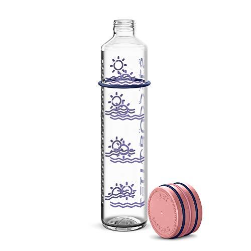 Zeit Buddels Trinkflasche Wasserflasche Glasflasche 1000ml 1l mit Trinkerinnerung für Sport Uni Outdoor Büro BPA-frei Kohlensäure geeignet Sunbeam rosé